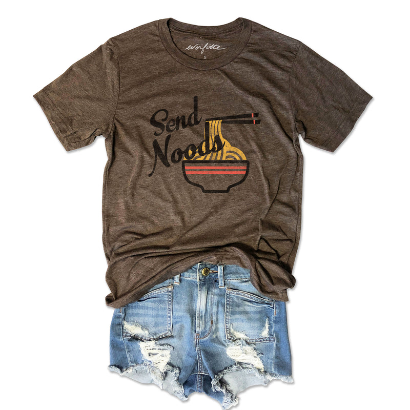Send Noods....Heather Brown Triblend Unisex Tee