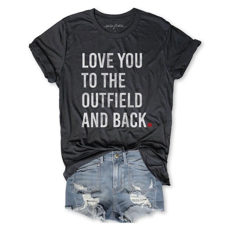 I Love You To The Outfield and Back ...Unisex Dark Grey Triblend Tee