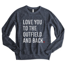SALE! Vintage Navy BASEBALL Love You to the Outfield and Back... Funny Unisex Raglan Sweatshirt