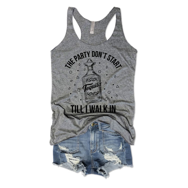 SALE! The Party Don't Start Til I Walk In...Grey Triblend Racerback Tank