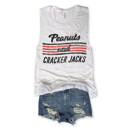 Sale... Peanuts and Cracker Jacks White Muscle Tee