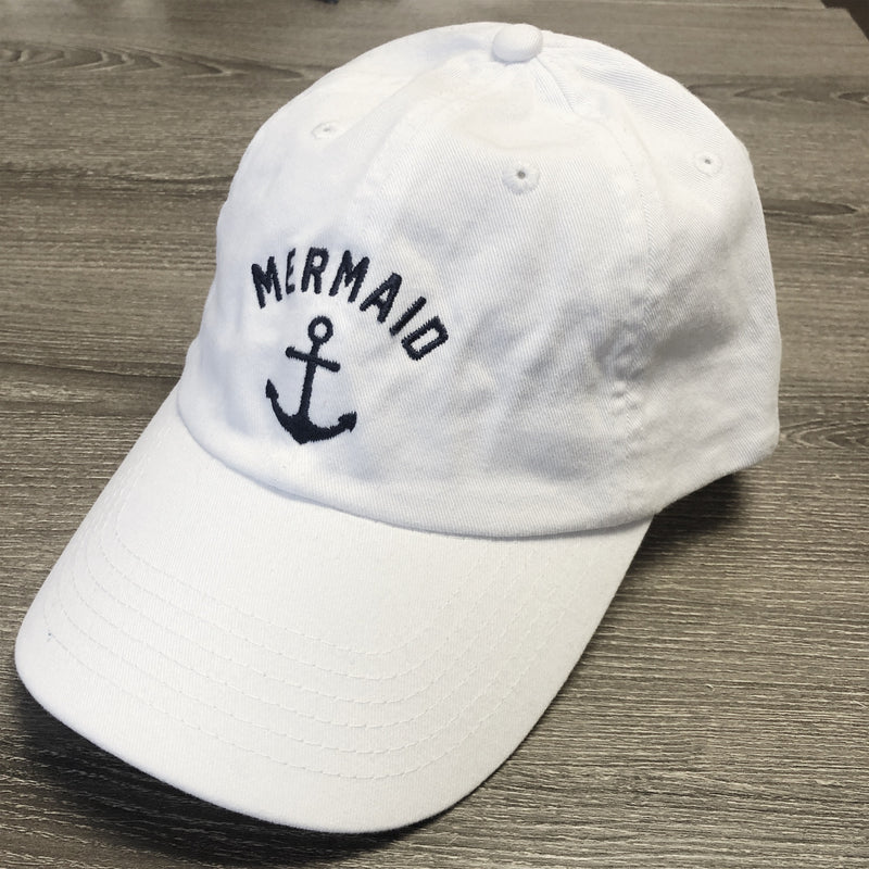 Mermaid Anchor... EMBROIDERED White/Navy Funny Dad Hat
