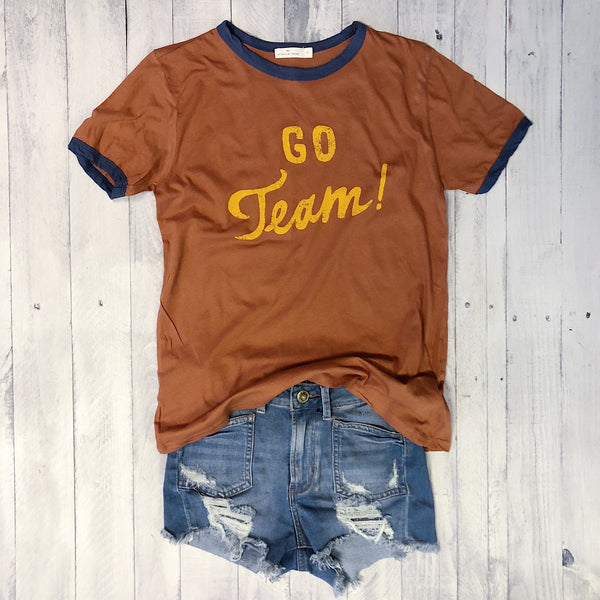 Sale! Go Team ... Retro Cotton Crewneck Ringer Tee
