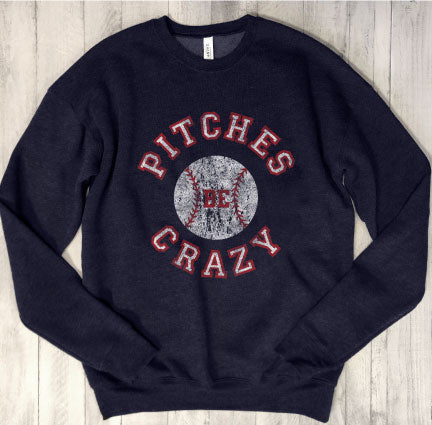 BASEBALL Pitches Be Crazy...Athletic Navy Drop Shoulder Crew Neck Sweatshirt