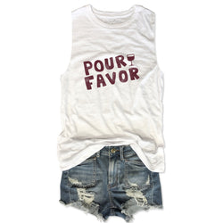 Pour Favor ... White Women's Relaxed Slouchy Muscle Tee