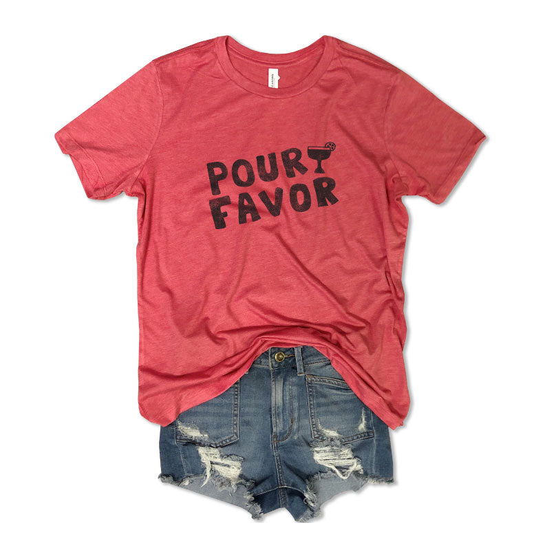 Pour Favor Margarita ... Women's Washed Out Red Relaxed Slouchy Basic Tee-Everfitte-[drinking shirt]-[alcohol shirt]-[bachelorette party]-[bridal party]-[funny shirt]-[funny tee]-[shirt with words]-[coffee in the shower]-[lululemon]-[chaser]-Everfitte