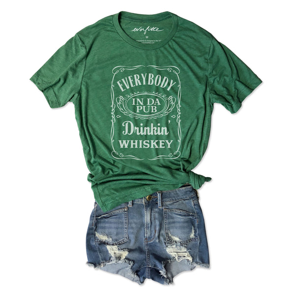 Everybody In Da Pub Drinkin' Whiskey... Funny St. Paddy's Day Green Triblend Unisex Tee-Everfitte-[funny family shirt]-[drinking shirts]-[bachelor shirt]-[bachelorette party tees]-[bridal party shirt]-[bridal party tee]-[group drinking tees]-[funny vodka shirt]-[funny tequila tee]-[funny tequila tshirt]-[funny whiskey tshirt]-[funny drinking shirt]-[tequila t-shirt]-[vodka t-shirt]-[whiskey t-shirt]-Everfitte