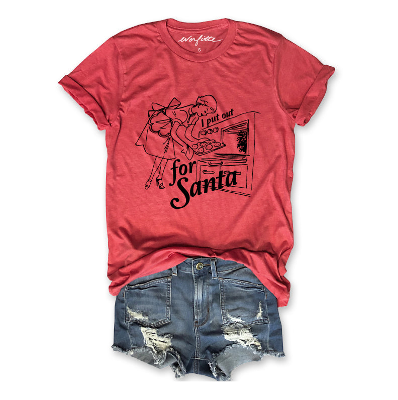 I Put Out For Santa ... Red Holiday Vintage Red Triblend Unisex Tee