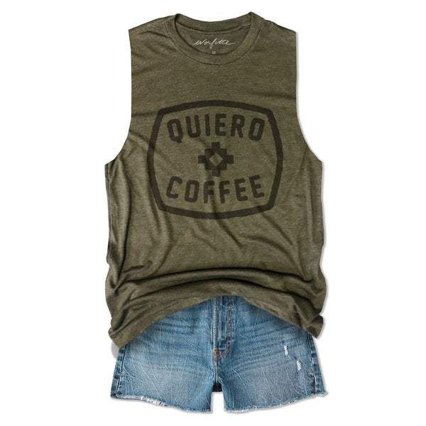 Quiero Coffee ... Army Unisex Triblend Raw Edge Muscle-Everfitte-[drinking shirt]-[alcohol shirt]-[bachelorette party]-[bridal party]-[funny shirt]-[funny tee]-[shirt with words]-[coffee in the shower]-[lululemon]-[chaser]-Everfitte