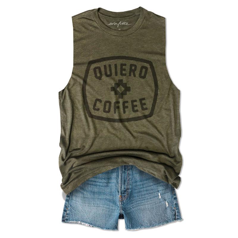 Quiero Coffee ... Army Unisex Triblend Raw Edge Muscle-Everfitte-[funny family shirt]-[drinking shirts]-[bachelor shirt]-[bachelorette party tees]-[bridal party shirt]-[bridal party tee]-[group drinking tees]-[funny vodka shirt]-[funny tequila tee]-[funny tequila tshirt]-[funny whiskey tshirt]-[funny drinking shirt]-[tequila t-shirt]-[vodka t-shirt]-[whiskey t-shirt]-Everfitte