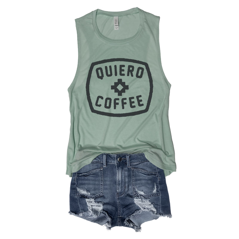 Quiero coffee ... Mint Cotton Blend Muscle Tee-Everfitte-[lululemon]-[chaser]-[athleta]-[spirtual gangster]-[champion]-[graphic tee]-[gym shirt]-[workout tee]-[funny shirt]-[funny tee]-[muscle tee]-Everfitte