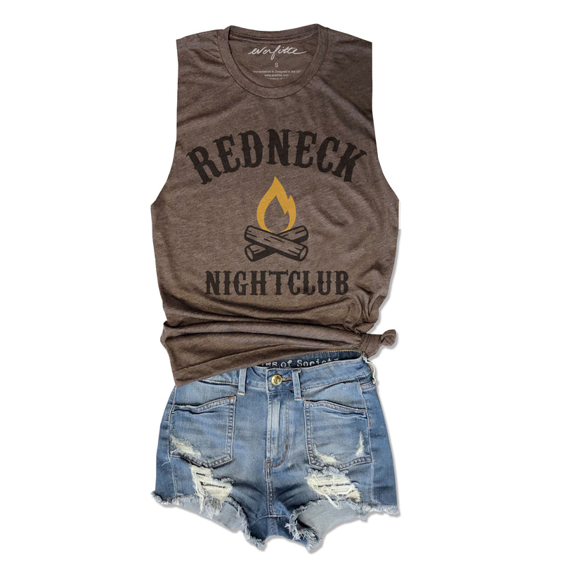 Redneck Nightclub... Funny Unisex Super Soft Triblend Raw Edge Muscle Tee-Everfitte-[drinking shirt]-[alcohol shirt]-[bachelorette party]-[bridal party]-[funny shirt]-[funny tee]-[shirt with words]-[coffee in the shower]-[lululemon]-[chaser]-Everfitte