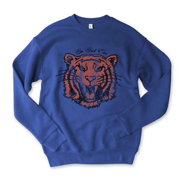 Go Get Em Tiger...Retro Cobalt Drop Shoulder Crew Neck Sweatshirt
