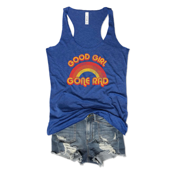 retro tank top, rainbow tank top, vintage tank top, vintage racerback, retro rainbow tank, everfitte, good girl gone rad, bachelorette party tank, bachelorette party tees, honeymoon tank top, honeymoon shirt, funny tank, rainbow tee, shirt,
