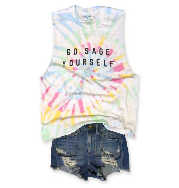 LIMITED... GO SAGE YOURSELF ....Tie Dye, Raw Edge, Cotton Muscle Tee-Everfitte-[lululemon]-[chaser]-[athleta]-[spirtual gangster]-[champion]-[graphic tee]-[gym shirt]-[workout tee]-[funny shirt]-[funny tee]-[muscle tee]-Everfitte