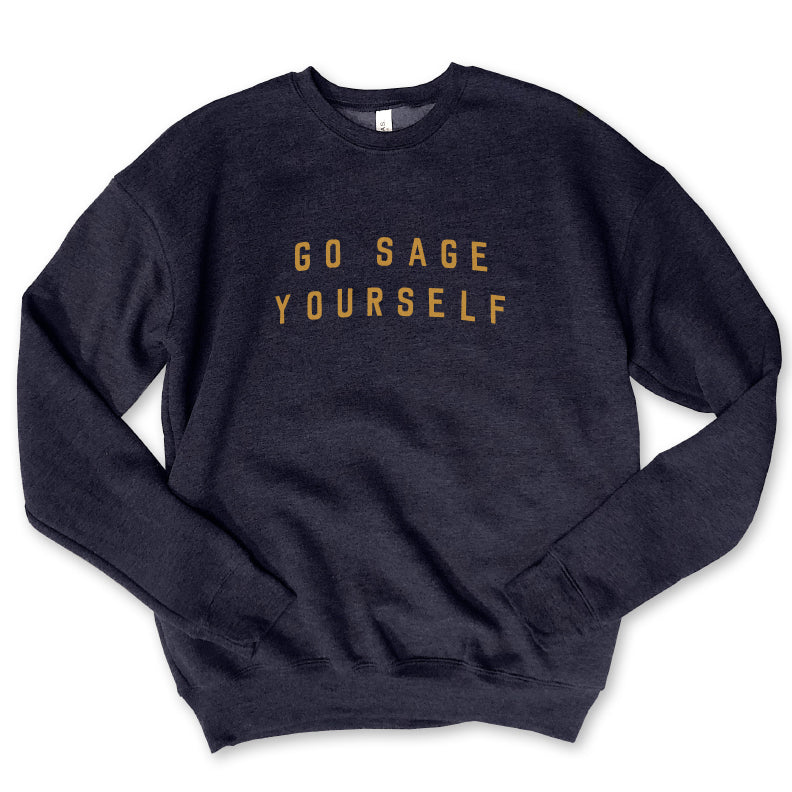 Go Sage Yourself...Navy Drop Shoulder Crew Neck Sweatshirt