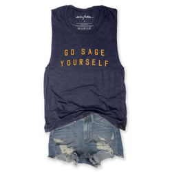 Go Sage Yourself... Triblend Navy Muscle Tee