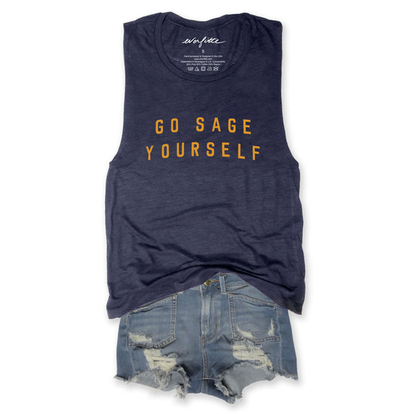 Go Sage Yourself... Triblend Navy Muscle Tee-Everfitte-[lululemon]-[chaser]-[athleta]-[spirtual gangster]-[champion]-[graphic tee]-[gym shirt]-[workout tee]-[funny shirt]-[funny tee]-[muscle tee]-Everfitte