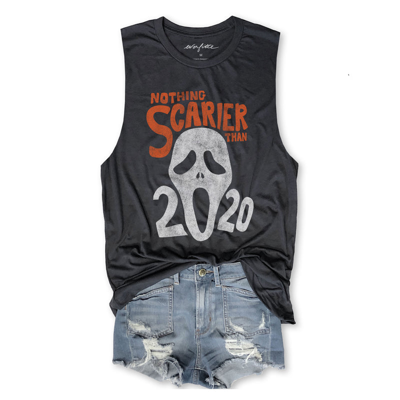 HALLOWEEN Nothing Scarier Than 2020 ... Funny Unisex Super Soft Triblend Muscle Tee in Vintage Black-Everfitte-[drinking shirt]-[alcohol shirt]-[bachelorette party]-[bridal party]-[funny shirt]-[funny tee]-[shirt with words]-[coffee in the shower]-[lululemon]-[chaser]-Everfitte