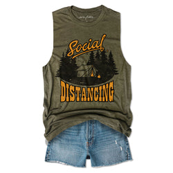 Social Distancing Camping ... Army Unisex Triblend Raw Edge Muscle-Everfitte-[lululemon]-[chaser]-[athleta]-[spirtual gangster]-[champion]-[graphic tee]-[gym shirt]-[workout tee]-[funny shirt]-[funny tee]-[muscle tee]-Everfitte