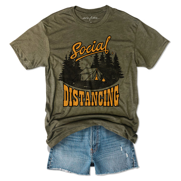 Social Distancing Camping.....Army Unisex Triblend Tee