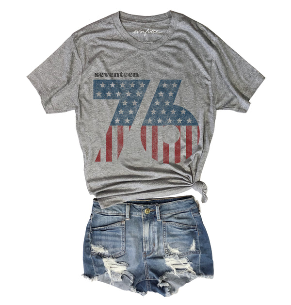 4th of July Seventeen 76 Tee.....Heather Grey Unisex Triblend Tee-Everfitte-[maga]-[usa]-[patriot]-[patriotic tee]-[funny usa shirt]-[4th of July]-[July 4th]-[american flag shirt]-[trump tshirt]-[trump rally shirt]-[tea party shirt]-[funny political shirt]-[biden shirt]-[liberal tshirt]-[republican tshirt]-Everfitte
