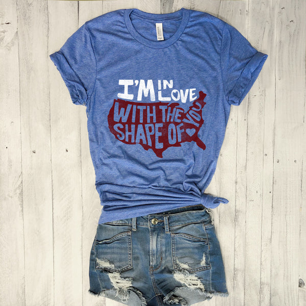 I'm in Love With The Shape Of You ... USA Blue Triblend Unisex Tee