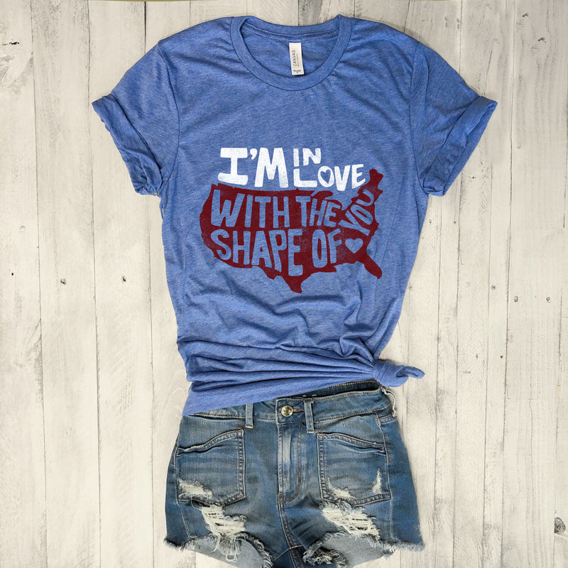 I'm in Love With The Shape Of You ... USA Blue Triblend Unisex Tee-Everfitte-[maga]-[usa]-[patriot]-[patriotic tee]-[funny usa shirt]-[4th of July]-[July 4th]-[american flag shirt]-[trump tshirt]-[trump rally shirt]-[tea party shirt]-[funny political shirt]-[biden shirt]-[liberal tshirt]-[republican tshirt]-Everfitte
