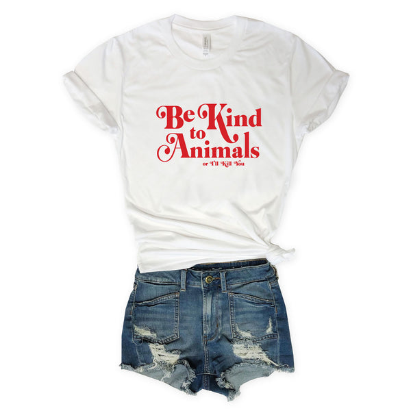 Sale! Be Kind To Animals or I'll Kill You...White Triblend Unisex Tee