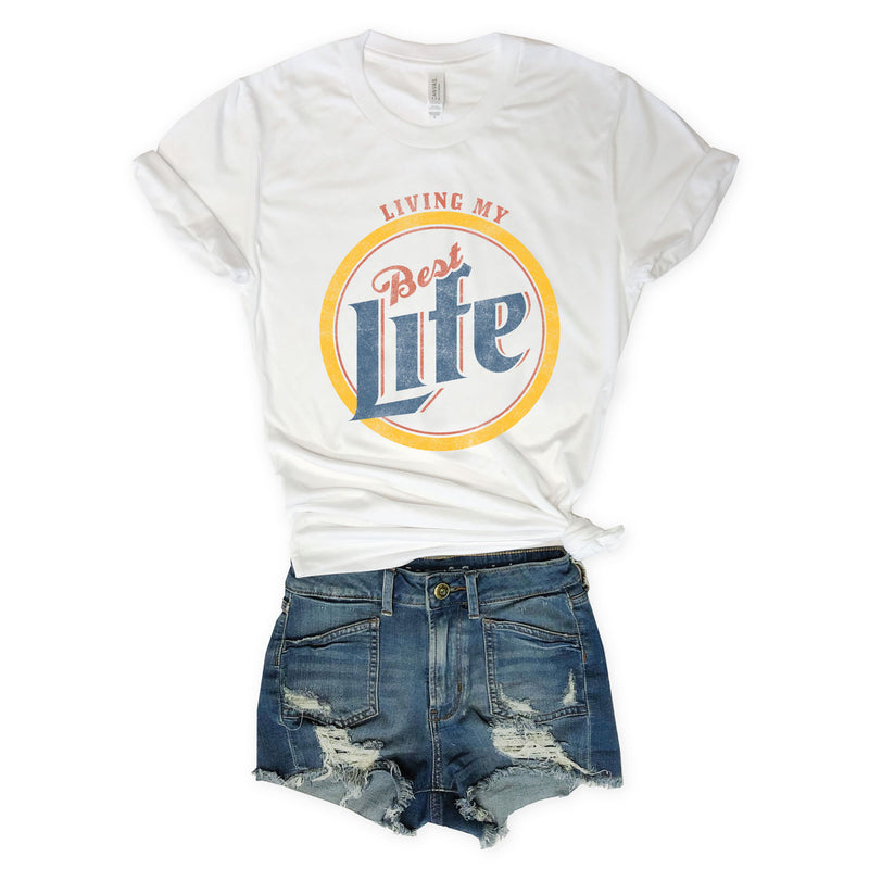 miller, beer shirt, funny beer t shirt, living my best life,  graphic tee, graphic t shirt, vintage tee, vintage t shirt, funny shirt, funny t shirts, screen print, womens retro tee