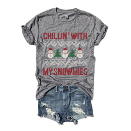 Chillin' With My Snowmies...Funny Holiday Triblend Unisex Tee