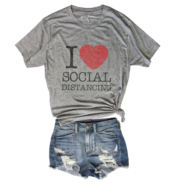I Heart Social Distancing ... Retro Heather Grey Unisex Triblend Tee
