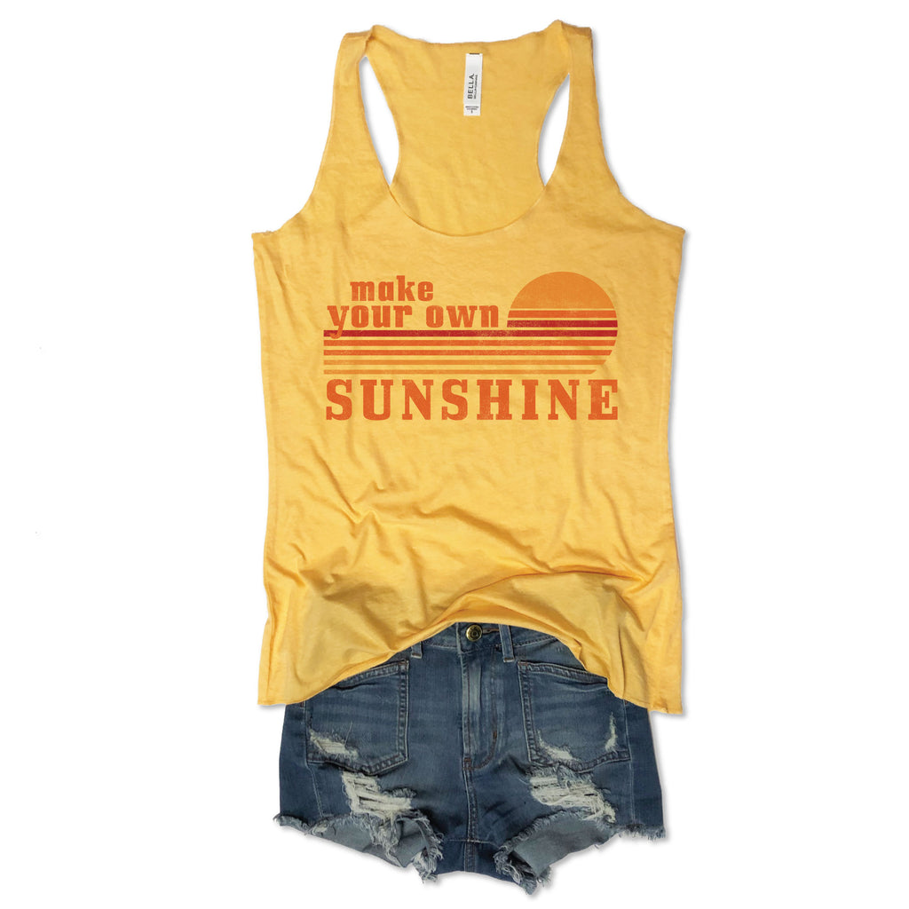 1cad97bc Make Your Own Sunshine...Retro Yellow Triblend Racerback Tank ...