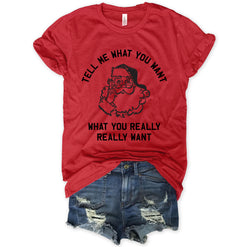 LIMITED: Tell Me What You Want What You Really Really Want... Red Holiday Vintage Red Triblend Unisex Tee