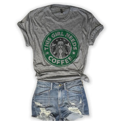 SALE! This Girl Needs Coffee Unisex Triblend Tee