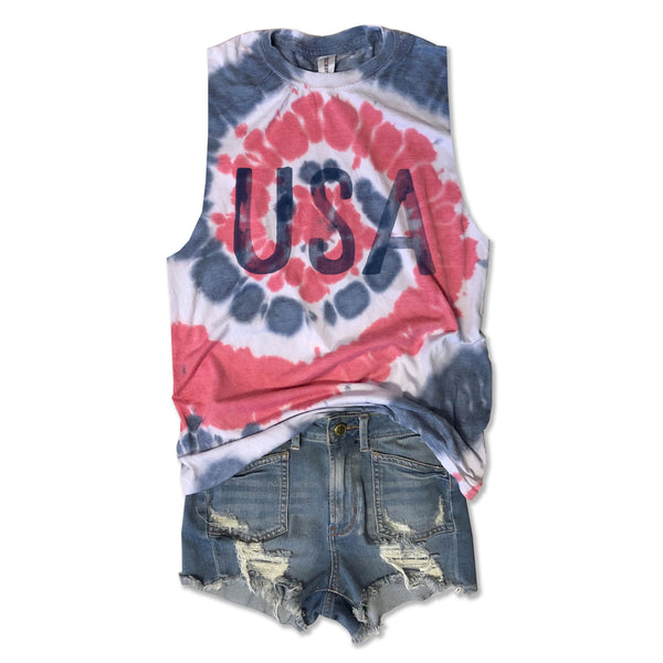 Watercolor USA ... Cotton Subtle Super Soft Burnout Tie Dye Muscle-Everfitte-[lululemon]-[chaser]-[athleta]-[spirtual gangster]-[champion]-[graphic tee]-[gym shirt]-[workout tee]-[funny shirt]-[funny tee]-[muscle tee]-Everfitte