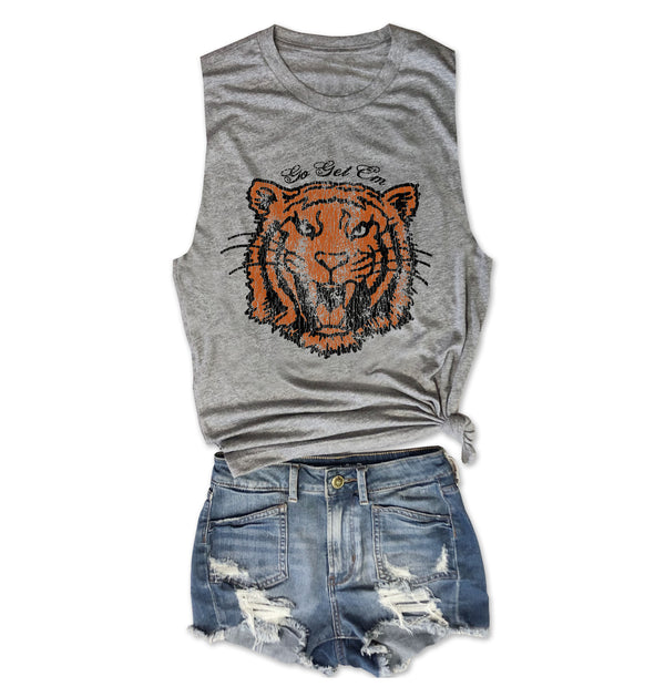 Go Get Em Tiger ... Retro Heather Grey Muscle Tee-Everfitte-[lululemon]-[chaser]-[athleta]-[spirtual gangster]-[champion]-[graphic tee]-[gym shirt]-[workout tee]-[funny shirt]-[funny tee]-[muscle tee]-Everfitte