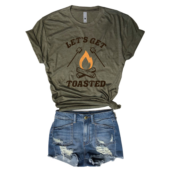Let's Get Toasted .....Funny Camping Unisex Triblend Tee