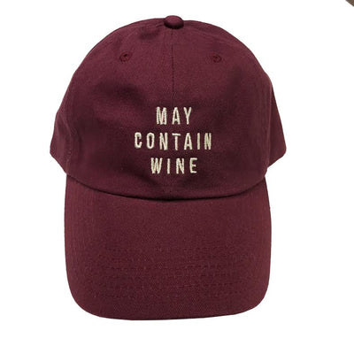 May Contain Wine... EMBROIDERED Burgendy Funny Dad Hat