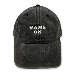 Game On, Baseball mom, game day, dad hat, adjustable hat, trucker hat, New York Yankees, New York Metts, Anaheim Angels, La dodgers, doyers hat, funny baseball hat, usa, made in the usa,