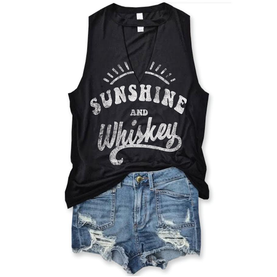 Sunshine and Whiskey Black Choker Neck Muscle Tee