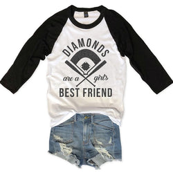 Sale... Diamonds Are A Girl's Best Friend Unisex Raglan Tee