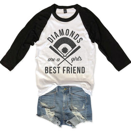 Diamonds Are A Girls Best Friend Unisex Raglan Tee