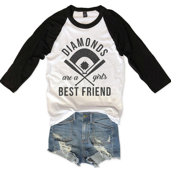 Diamonds Are A Girl's Best Friend Unisex Raglan Tee