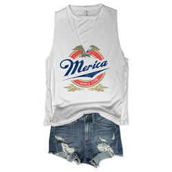 Merica Eagle White Choker Neck Muscle Tee