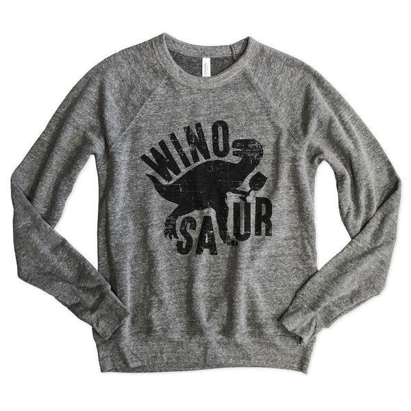 Winosaur Unisex Raglan Sweatshirt-Everfitte-[funny family shirt]-[drinking shirts]-[bachelor shirt]-[bachelorette party tees]-[bridal party shirt]-[bridal party tee]-[group drinking tees]-[funny vodka shirt]-[funny tequila tee]-[funny tequila tshirt]-[funny whiskey tshirt]-[funny drinking shirt]-[tequila t-shirt]-[vodka t-shirt]-[whiskey t-shirt]-Everfitte