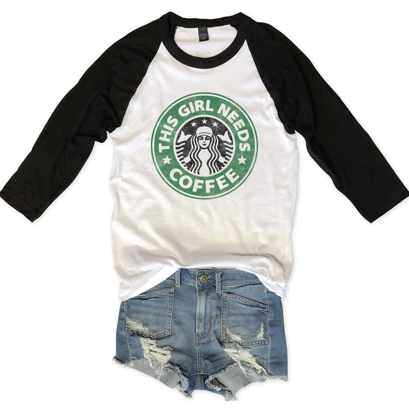 Sale! This Girl Needs Coffee Unisex Raglan Tee