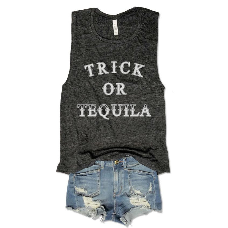Sale... Trick Or Tequila... Muscle Tee-Everfitte-[funny family shirt]-[drinking shirts]-[bachelor shirt]-[bachelorette party tees]-[bridal party shirt]-[bridal party tee]-[group drinking tees]-[funny vodka shirt]-[funny tequila tee]-[funny tequila tshirt]-[funny whiskey tshirt]-[funny drinking shirt]-[tequila t-shirt]-[vodka t-shirt]-[whiskey t-shirt]-Everfitte