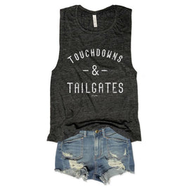 Tailgates and Touchdowns.....Charcoal Slub Muscle Tee