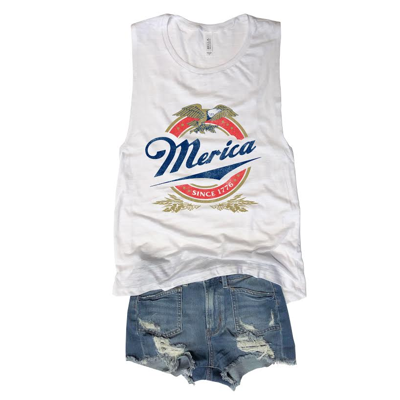 Merica Eagle... White Muscle Tee